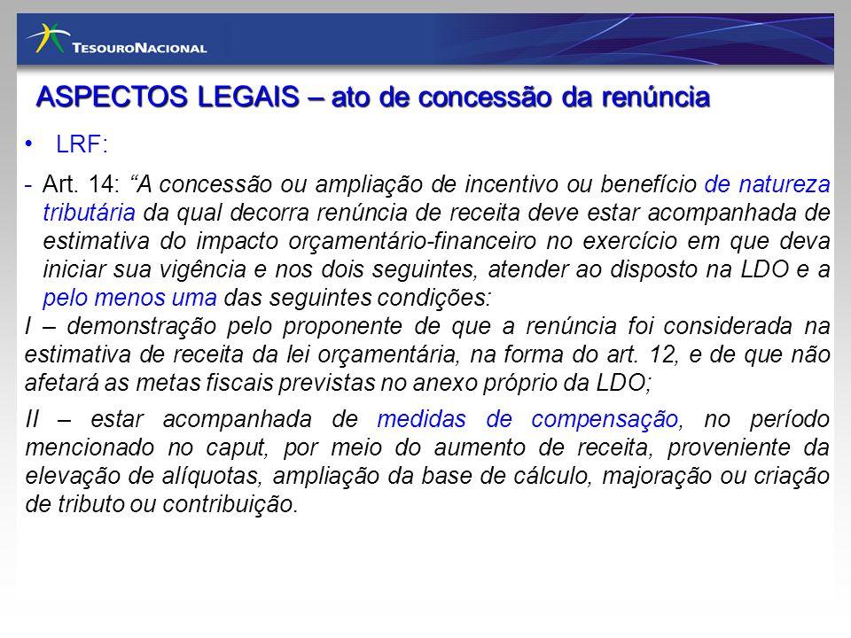 ASPECTOS LEGAIS – ato de concessão da renúncia LRF: - Art. 14: A concessão ou ampliação de incentivo ou benefício de natureza tributária da qual decor