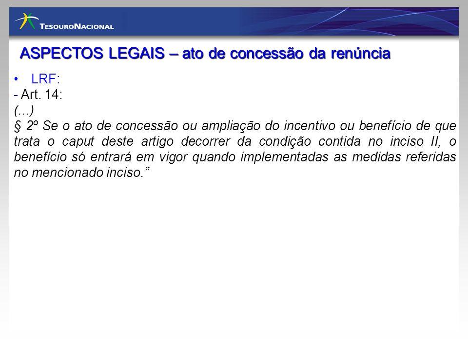 ASPECTOS LEGAIS – ato de concessão da renúncia LRF: - Art. 14: (...) § 2º Se o ato de concessão ou ampliação do incentivo ou benefício de que trata o