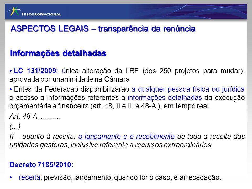 Informações detalhadas ASPECTOS LEGAIS – transparência da renúncia LC 131/2009: única alteração da LRF (dos 250 projetos para mudar), aprovada por una