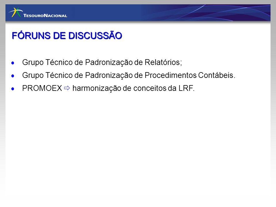 Grupo Técnico de Padronização de Relatórios; Grupo Técnico de Padronização de Procedimentos Contábeis. PROMOEX harmonização de conceitos da LRF. FÓRUN
