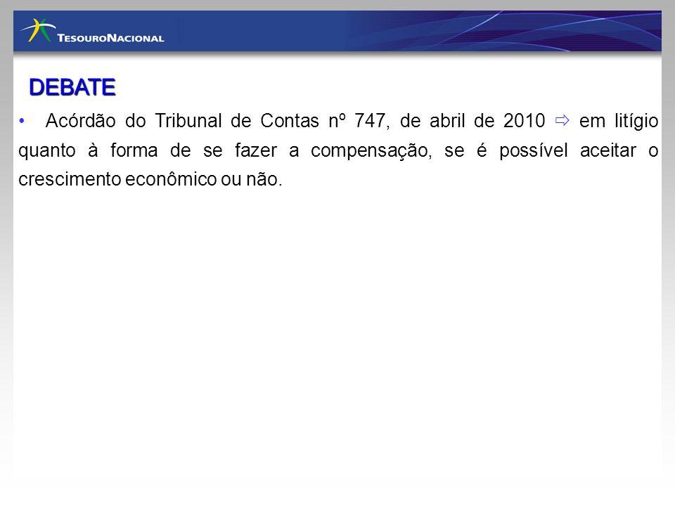 Acórdão do Tribunal de Contas nº 747, de abril de 2010 em litígio quanto à forma de se fazer a compensação, se é possível aceitar o crescimento econôm
