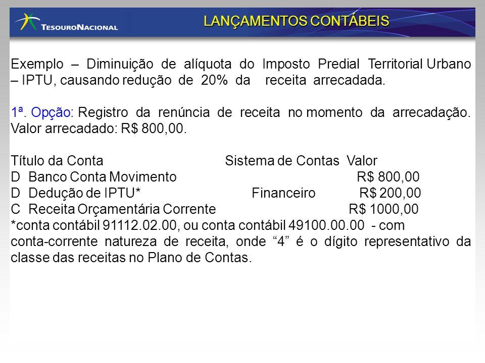 Exemplo – Diminuição de alíquota do Imposto Predial Territorial Urbano – IPTU, causando redução de 20% da receita arrecadada. 1ª. Opção: Registro da r