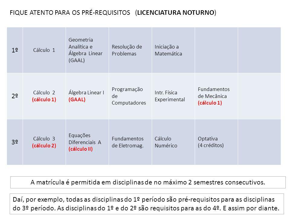 FIQUE ATENTO PARA OS PRÉ-REQUISITOS (LICENCIATURA NOTURNO) A matrícula é permitida em disciplinas de no máximo 2 semestres consecutivos. Daí, por exem