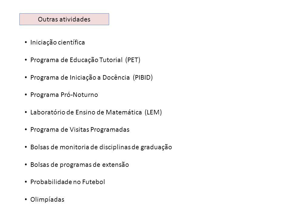 Outras atividades Iniciação científica Programa de Educação Tutorial (PET) Programa de Iniciação a Docência (PIBID) Programa Pró-Noturno Laboratório d