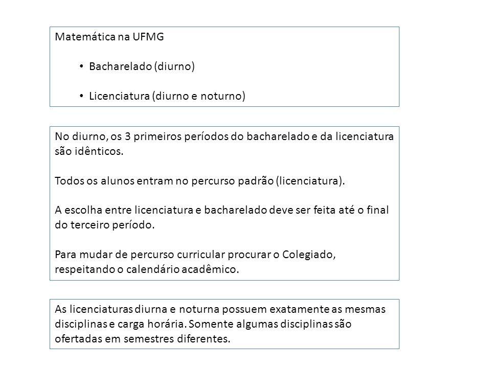 Matemática na UFMG Bacharelado (diurno) Licenciatura (diurno e noturno) Em cada um dos percursos, bacharelado ou licenciatura, existem dois tipos de vinculação: Formação Livre Formação Complementar Aberta Nestas duas vinculações as disciplinas obrigatórias são as mesmas.