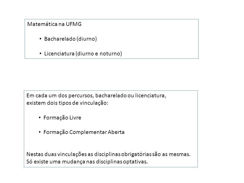 Matemática na UFMG Bacharelado (diurno) Licenciatura (diurno e noturno) Em cada um dos percursos, bacharelado ou licenciatura, existem dois tipos de v