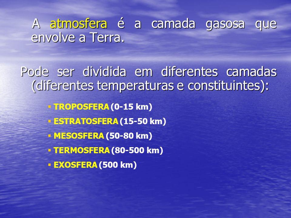 A atmosfera é a camada gasosa que envolve a Terra. A atmosfera é a camada gasosa que envolve a Terra. Pode ser dividida em diferentes camadas (diferen