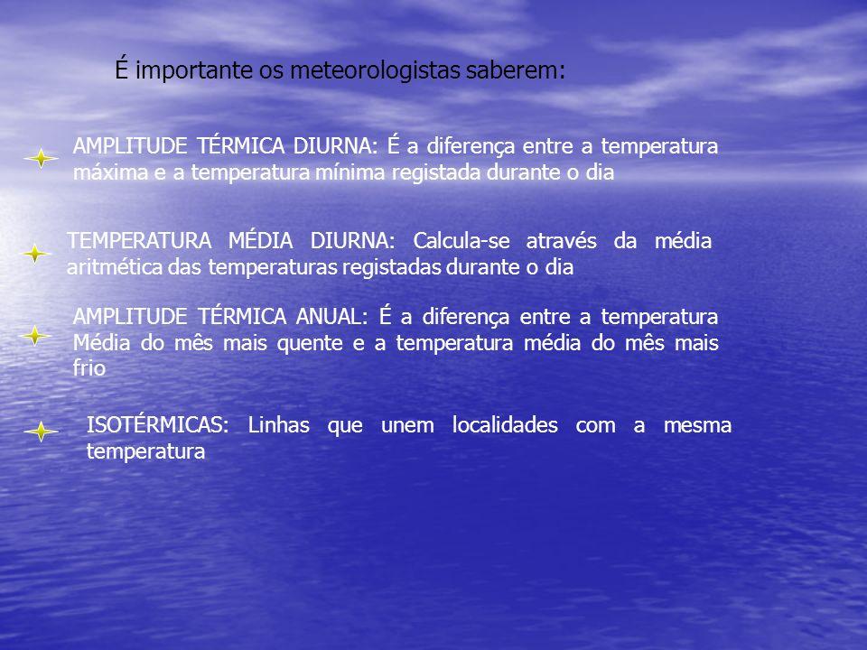 É importante os meteorologistas saberem: AMPLITUDE TÉRMICA DIURNA: É a diferença entre a temperatura máxima e a temperatura mínima registada durante o