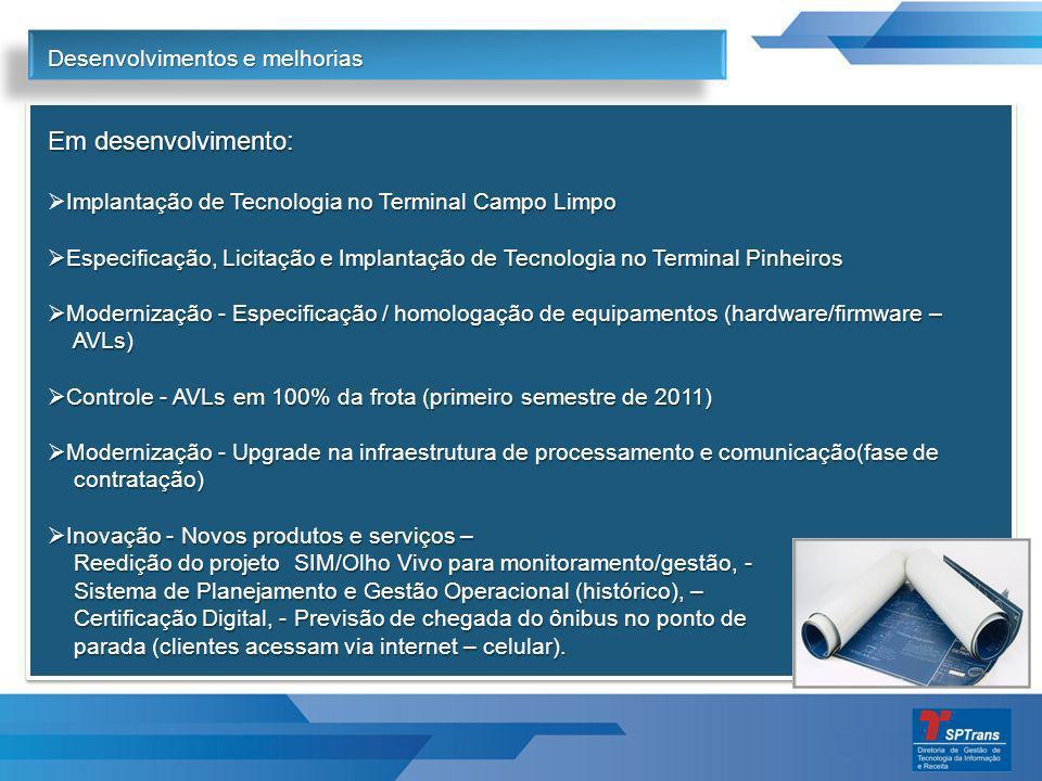 Em desenvolvimento: Implantação de Tecnologia no Terminal Campo Limpo Especificação, Licitação e Implantação de Tecnologia no Terminal Pinheiros Especificação, Licitação e Implantação de Tecnologia no Terminal Pinheiros Modernização - Especificação / homologação de equipamentos (hardware/firmware – Modernização - Especificação / homologação de equipamentos (hardware/firmware – AVLs) AVLs) Controle - AVLs em 100% da frota (primeiro semestre de 2011) Controle - AVLs em 100% da frota (primeiro semestre de 2011) Modernização - Upgrade na infraestrutura de processamento e comunicação(fase de Modernização - Upgrade na infraestrutura de processamento e comunicação(fase de contratação) contratação) Inovação - Novos produtos e serviços – Inovação - Novos produtos e serviços – Reedição do projeto SIM/Olho Vivo para monitoramento/gestão, - Reedição do projeto SIM/Olho Vivo para monitoramento/gestão, - Sistema de Planejamento e Gestão Operacional (histórico), – Sistema de Planejamento e Gestão Operacional (histórico), – Certificação Digital, - Previsão de chegada do ônibus no ponto de Certificação Digital, - Previsão de chegada do ônibus no ponto de parada (clientes acessam via internet – celular).