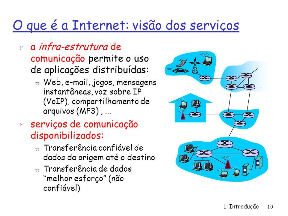 1: Introdução10 O que é a Internet: visão dos serviços r a infra-estrutura de comunicação permite o uso de aplicações distribuídas: m Web, e-mail, jog