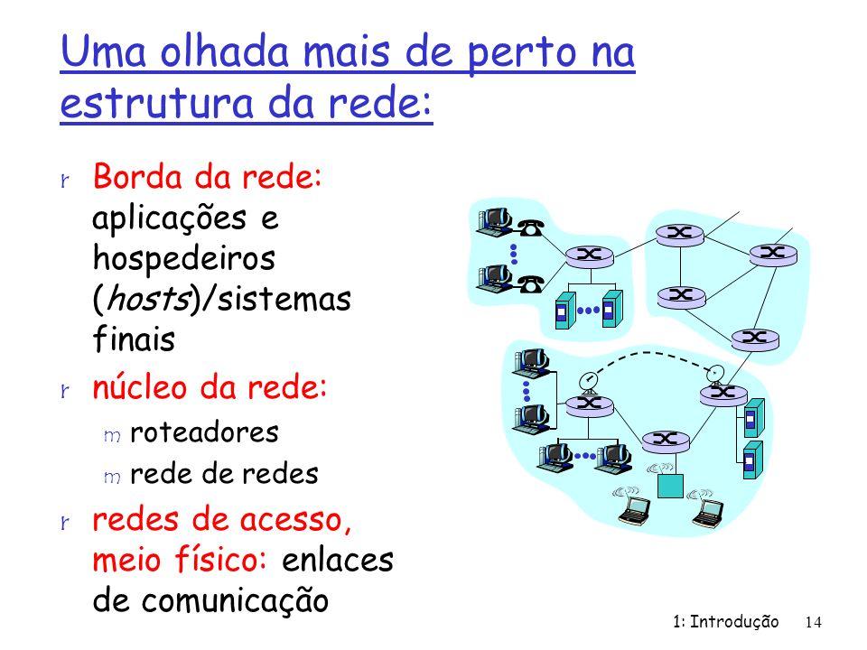 1: Introdução14 Uma olhada mais de perto na estrutura da rede: r Borda da rede: aplicações e hospedeiros (hosts)/sistemas finais r núcleo da rede: m r