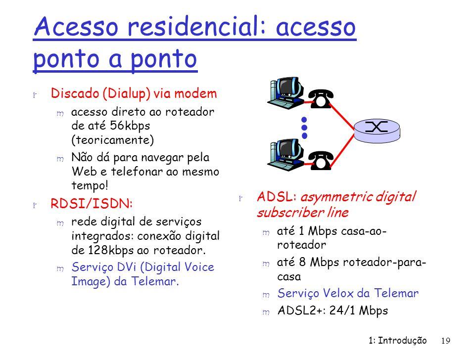 1: Introdução19 Acesso residencial: acesso ponto a ponto r Discado (Dialup) via modem m acesso direto ao roteador de até 56kbps (teoricamente) m Não d