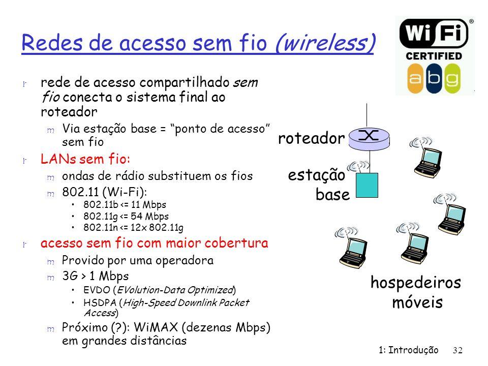 1: Introdução32 Redes de acesso sem fio (wireless) r rede de acesso compartilhado sem fio conecta o sistema final ao roteador m Via estação base = pon