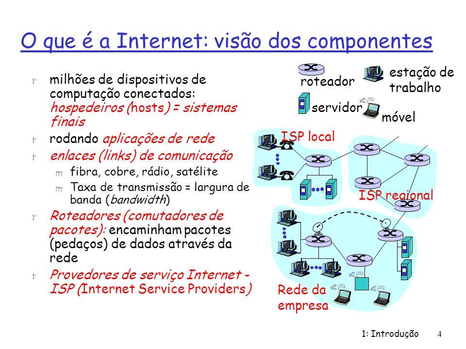 1: Introdução15 A borda da rede: r Sistemas finais (hosts): m rodam programas de aplicação m ex., WWW, email m na borda da rede r modelo cliente/servidor m o host cliente faz os pedidos, são atendidos pelos servidores m ex., cliente Web (browser)/ servidor; cliente/servidor de e- mail r modelo peer-peer (p2p): m uso mínimo (ou nenhum) de servidores dedicados m ex.: Skype, BitTorrent