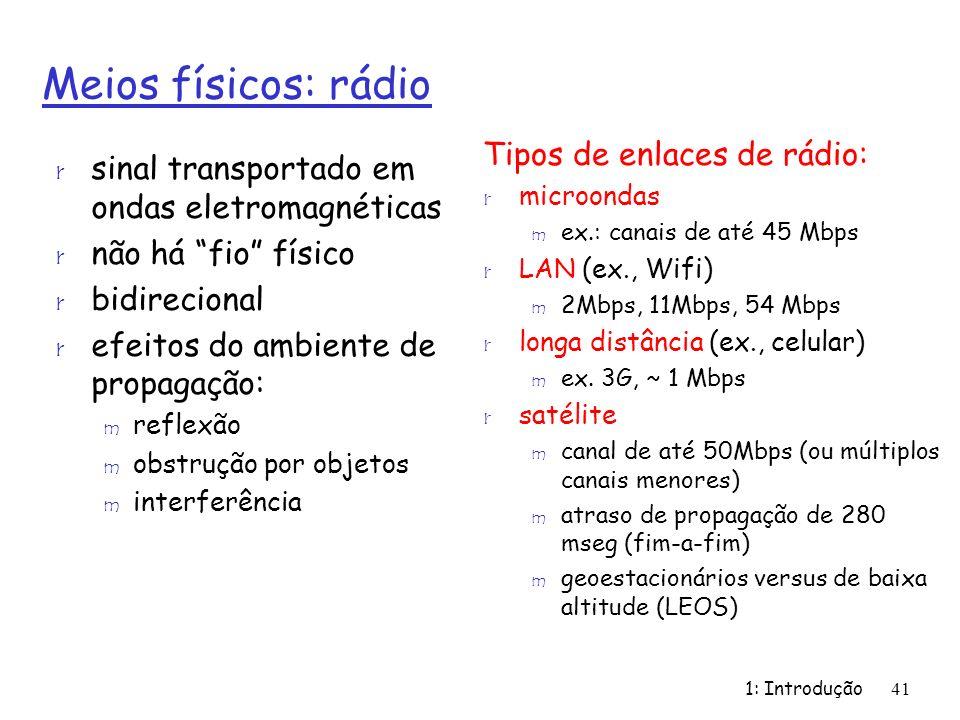 1: Introdução41 Meios físicos: rádio r sinal transportado em ondas eletromagnéticas r não há fio físico r bidirecional r efeitos do ambiente de propag