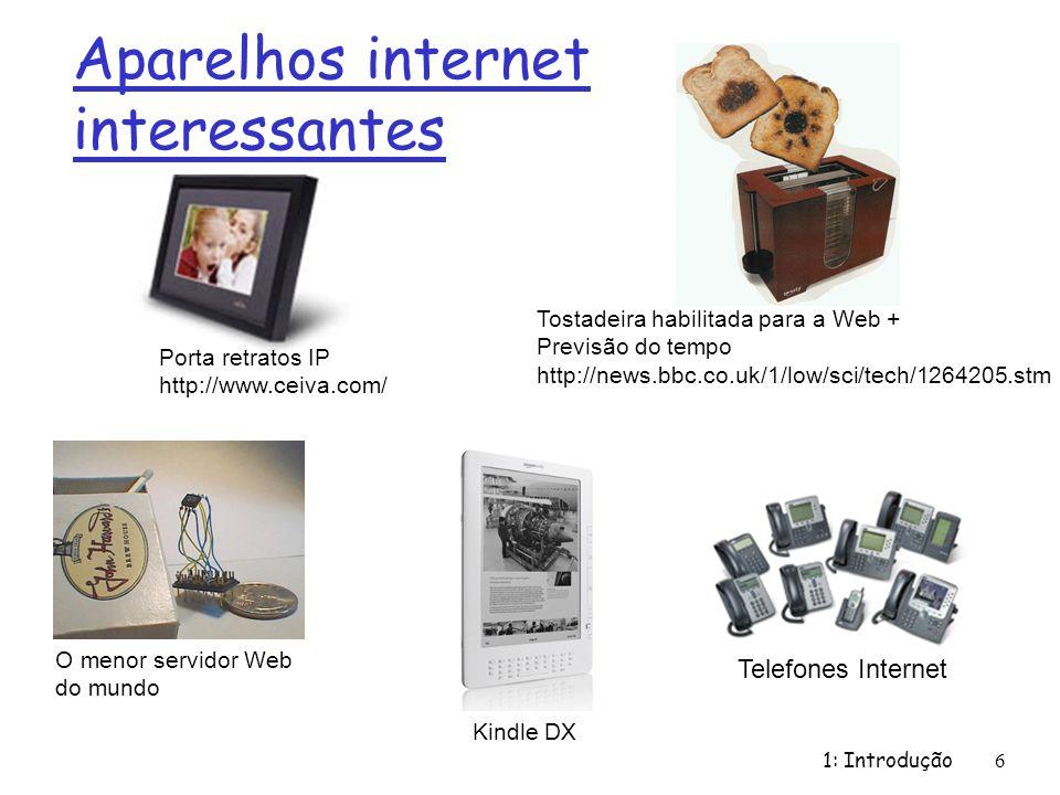 Aparelhos internet interessantes 1: Introdução6 O menor servidor Web do mundo Porta retratos IP http://www.ceiva.com/ Tostadeira habilitada para a Web