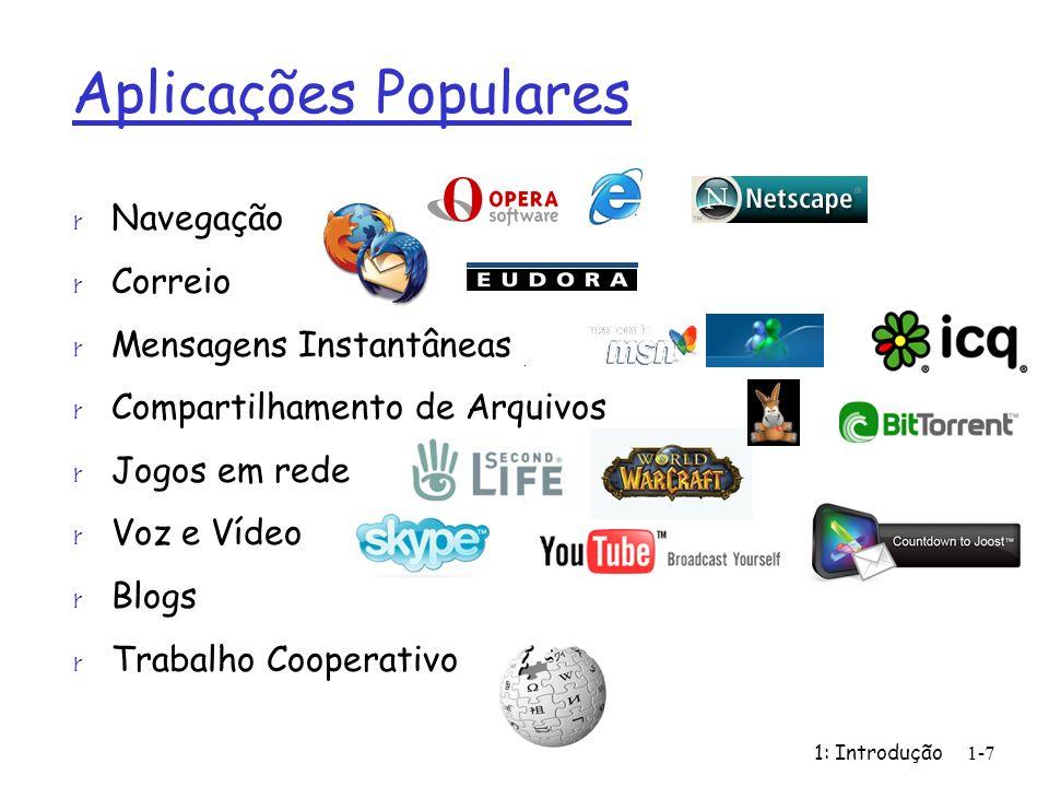 1: Introdução1-7 Aplicações Populares r Navegação r Correio r Mensagens Instantâneas r Compartilhamento de Arquivos r Jogos em rede r Voz e Vídeo r Bl