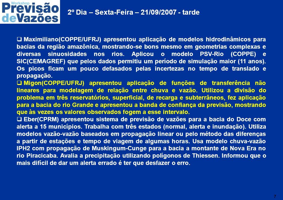 8 2º Dia – Sexta-Feira – 21/09/2007 - tarde (continuação) Pedro Dias(LNCC) apresentou os desafios de previsão meteorológica, onde se faz necessário aumentar o horizonte de previsão dos modelos de previsão de tempo para 14 dias.