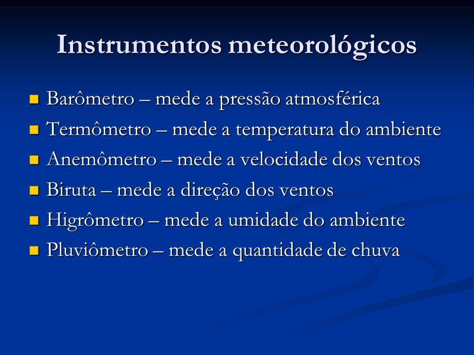 Instrumentos meteorológicos Barômetro – mede a pressão atmosférica Barômetro – mede a pressão atmosférica Termômetro – mede a temperatura do ambiente
