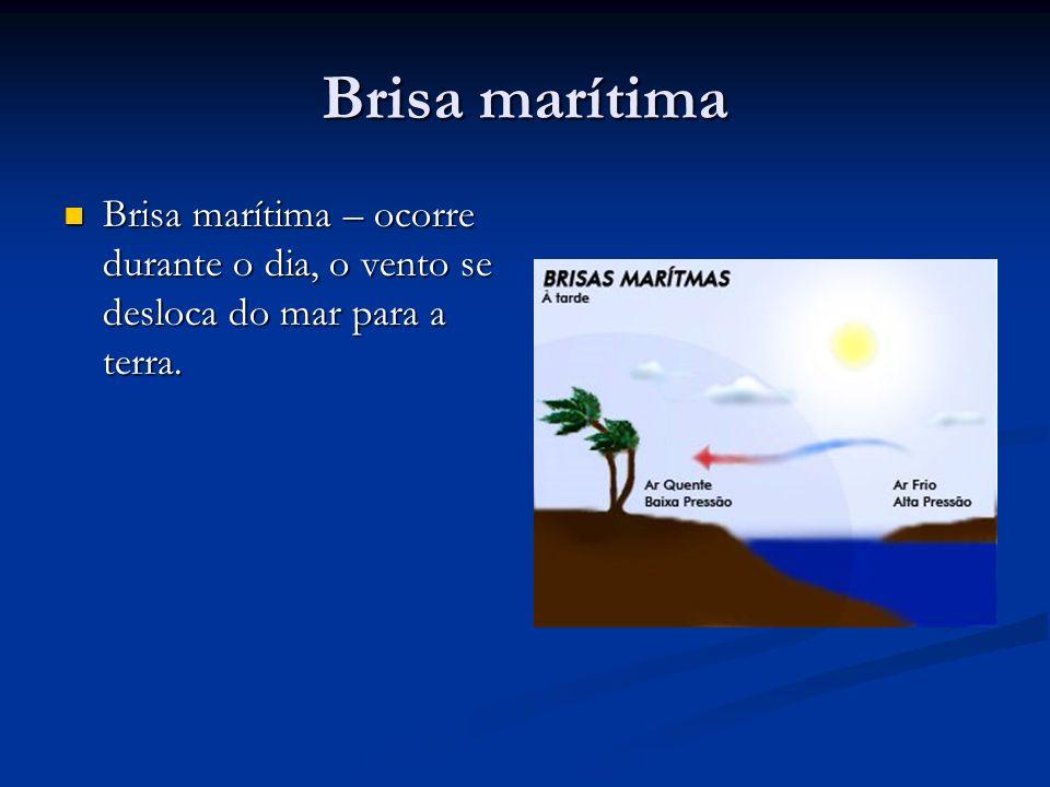 Brisa marítima Brisa marítima – ocorre durante o dia, o vento se desloca do mar para a terra. Brisa marítima – ocorre durante o dia, o vento se desloc