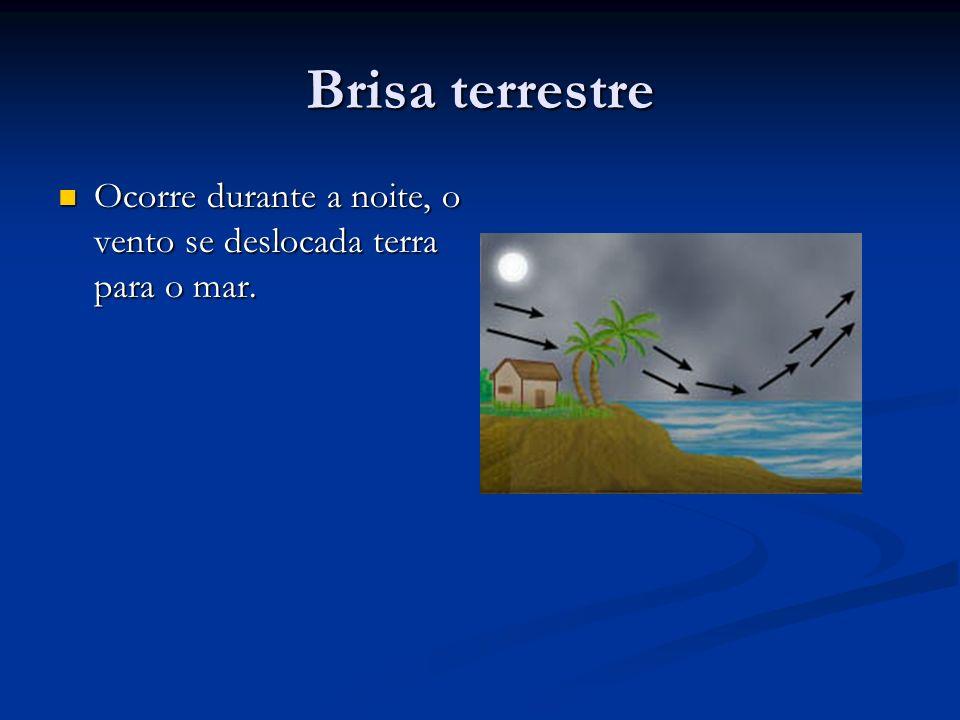 Brisa terrestre Ocorre durante a noite, o vento se deslocada terra para o mar. Ocorre durante a noite, o vento se deslocada terra para o mar.