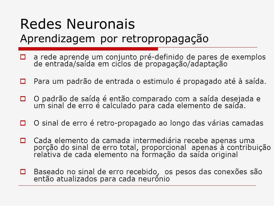 Redes Neuronais Aprendizagem por retropropagação a rede aprende um conjunto pré-definido de pares de exemplos de entrada/saída em ciclos de propagação/adaptação Para um padrão de entrada o estimulo é propagado até à saída.