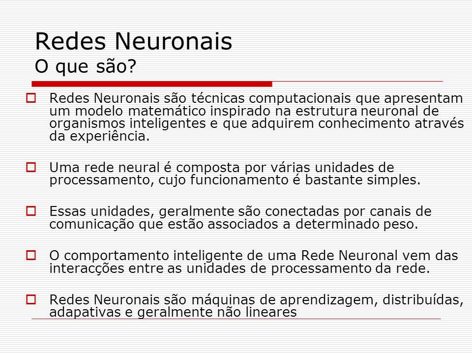 Redes Neuronais Usando o Matlab Treino da rede [net,tr,Y,E,Pf,Af] = train(net,P,T,Pi,Ai,VV,TV) Train – treina a rede net – é a rede criada com newff P – é a matriz de entrada (o número de entradas deve estar coerente com o número de neurónios da camada de entrada de newff) T – é a matriz de saídas (o número de saídas deve estar coerente com o número de neurónios da camada de saída de newff)