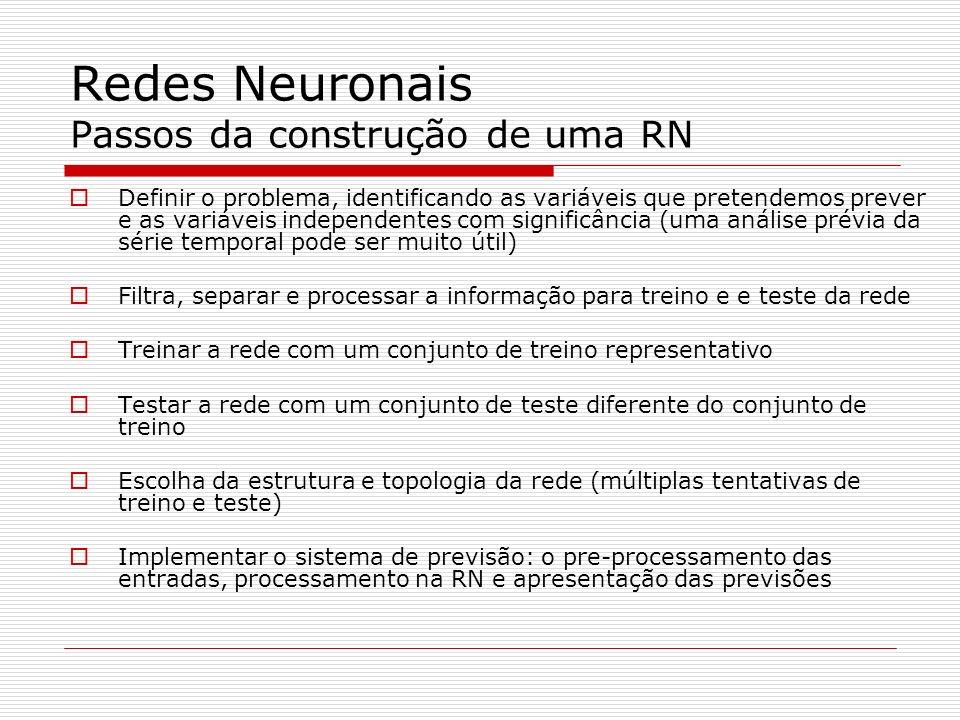 Redes Neuronais Usando o Matlab Simulação [Y,Pf,Af,E,perf] = sim(net,P,Pi,Ai,T) sim – simula a rede neuronal net – é a rede criada com newff P – é a matriz de entrada (o número de entradas deve estar coerente com o número de neurónios da camada de entrada de newff) Y – é a matriz de saídas