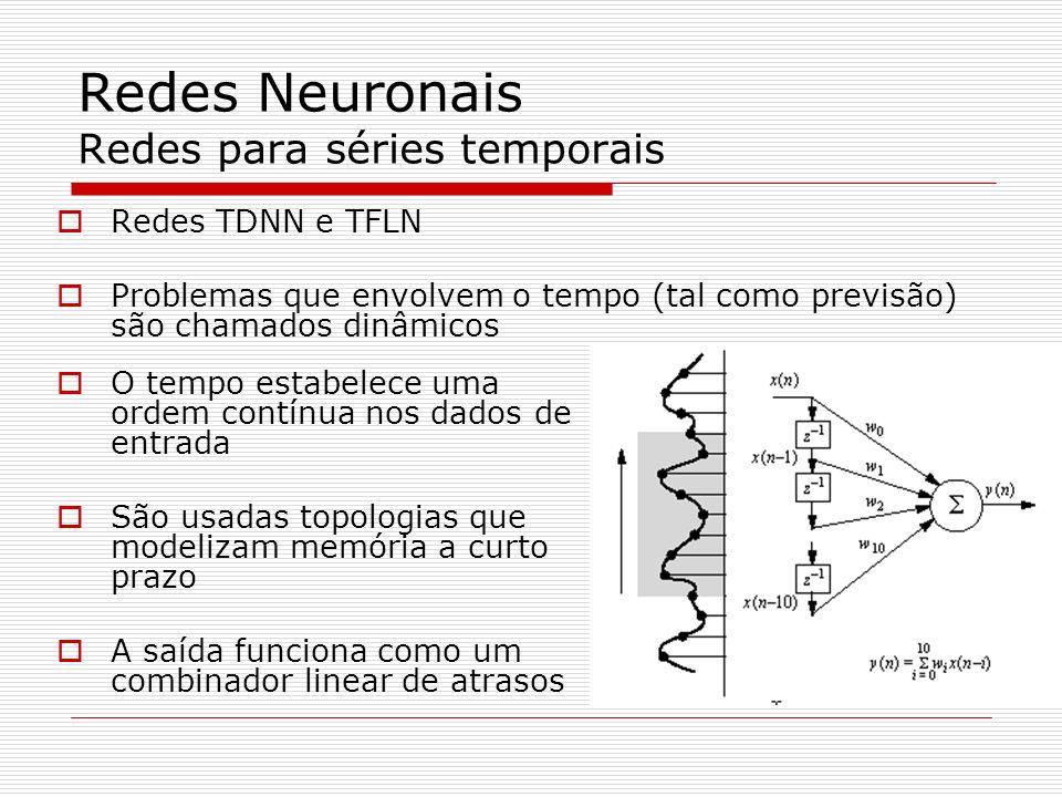 Redes Neuronais TDNN – Time-Domain Neural Network substitui-se os neurônios de entrada de uma MLP por uma linha de atraso pode ser treinada com a retro-propagação estática A memória está nos atrasos da camada de entrada Neurónios