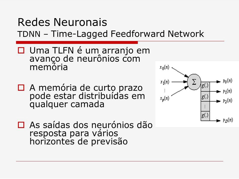 Redes Neuronais TDNN – Time-Lagged Feedforward Network Uma TLFN é um arranjo em avanço de neurônios com memória A memória de curto prazo pode estar distribuídas em qualquer camada As saídas dos neurónios dão resposta para vários horizontes de previsão