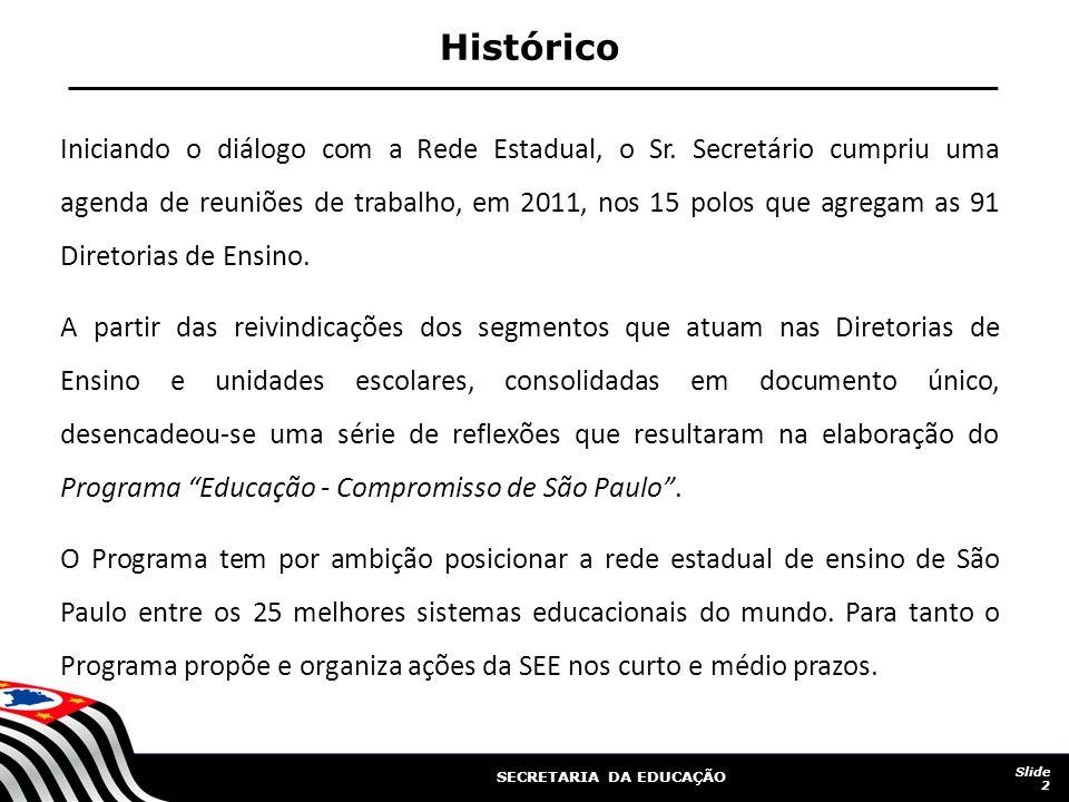 SECRETARIA DA EDUCAÇÃO Iniciando o diálogo com a Rede Estadual, o Sr.