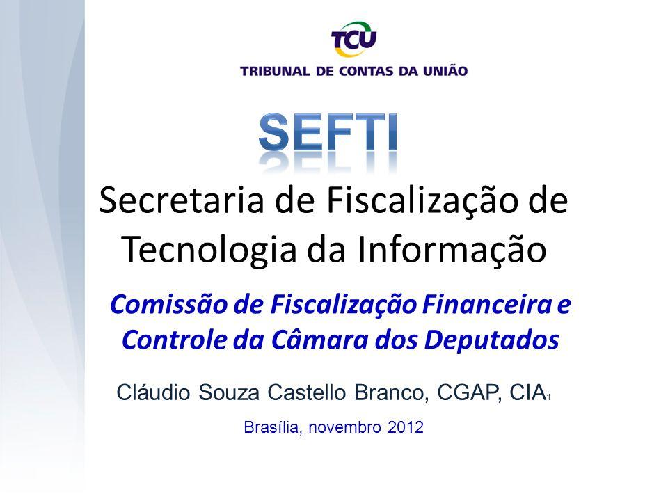 Secretaria de Fiscalização de Tecnologia da Informação Brasília, novembro 2012 Cláudio Souza Castello Branco, CGAP, CIA 1 Comissão de Fiscalização Financeira e Controle da Câmara dos Deputados