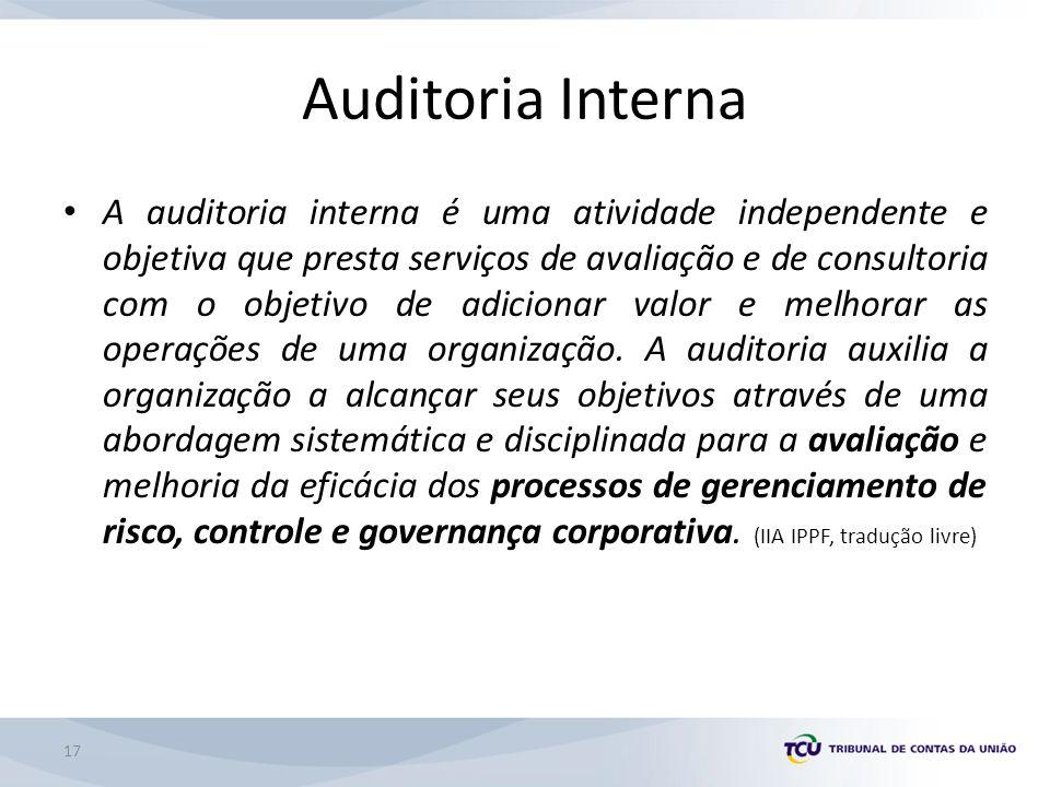 17 Auditoria Interna A auditoria interna é uma atividade independente e objetiva que presta serviços de avaliação e de consultoria com o objetivo de adicionar valor e melhorar as operações de uma organização.