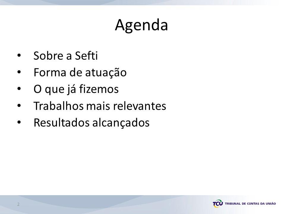 Agenda Sobre a Sefti Forma de atuação O que já fizemos Trabalhos mais relevantes Resultados alcançados 2
