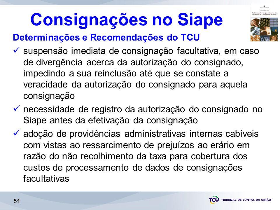 Consignações no Siape Determinações e Recomendações do TCU suspensão imediata de consignação facultativa, em caso de divergência acerca da autorização do consignado, impedindo a sua reinclusão até que se constate a veracidade da autorização do consignado para aquela consignação necessidade de registro da autorização do consignado no Siape antes da efetivação da consignação adoção de providências administrativas internas cabíveis com vistas ao ressarcimento de prejuízos ao erário em razão do não recolhimento da taxa para cobertura dos custos de processamento de dados de consignações facultativas 51