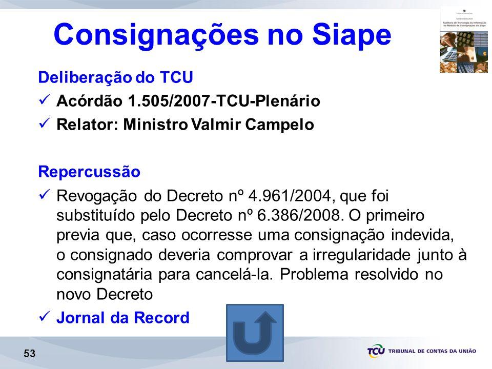 Consignações no Siape Deliberação do TCU Acórdão 1.505/2007-TCU-Plenário Relator: Ministro Valmir Campelo Repercussão Revogação do Decreto nº 4.961/2004, que foi substituído pelo Decreto nº 6.386/2008.