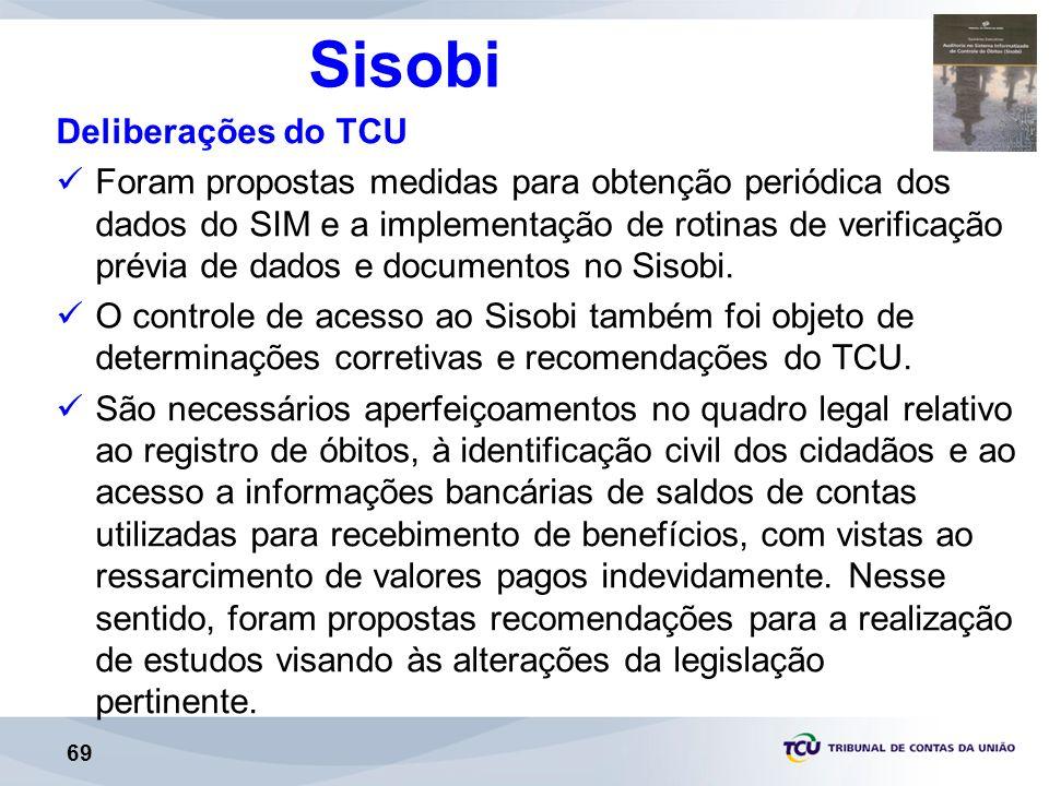 69 Sisobi Deliberações do TCU Foram propostas medidas para obtenção periódica dos dados do SIM e a implementação de rotinas de verificação prévia de dados e documentos no Sisobi.