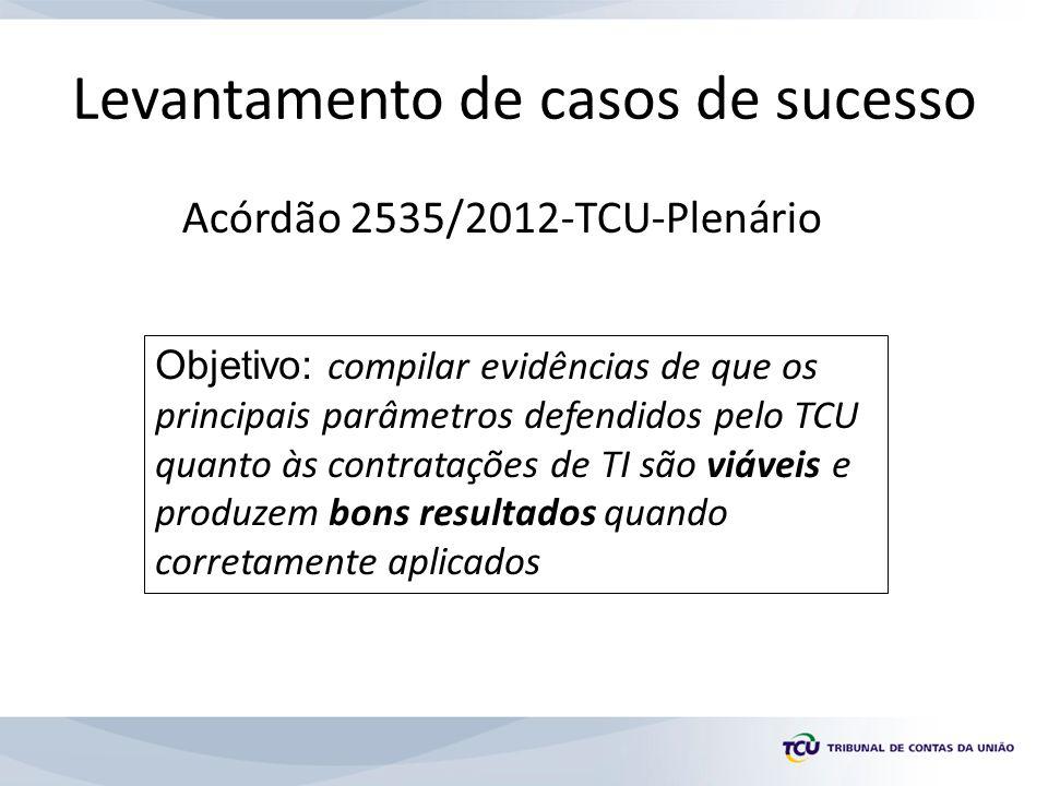 Levantamento de casos de sucesso Acórdão 2535/2012-TCU-Plenário Objetivo: compilar evidências de que os principais parâmetros defendidos pelo TCU quanto às contratações de TI são viáveis e produzem bons resultados quando corretamente aplicados