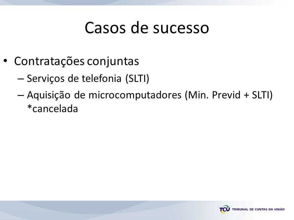 Casos de sucesso Contratações conjuntas – Serviços de telefonia (SLTI) – Aquisição de microcomputadores (Min.