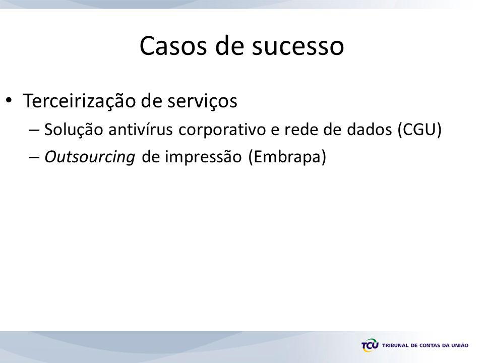 Casos de sucesso Terceirização de serviços – Solução antivírus corporativo e rede de dados (CGU) – Outsourcing de impressão (Embrapa)