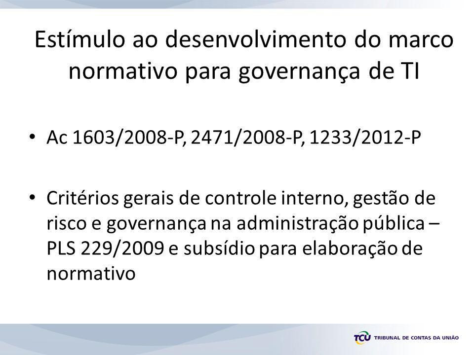 Estímulo ao desenvolvimento do marco normativo para governança de TI Ac 1603/2008-P, 2471/2008-P, 1233/2012-P Critérios gerais de controle interno, gestão de risco e governança na administração pública – PLS 229/2009 e subsídio para elaboração de normativo