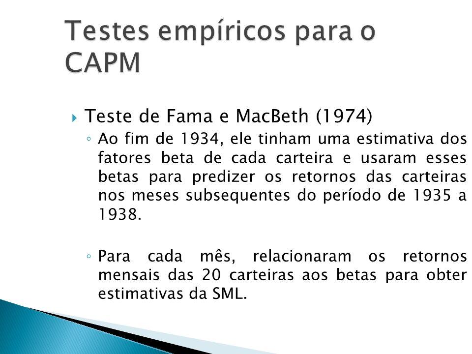 Teste de Fama e MacBeth (1974) Ao fim de 1934, ele tinham uma estimativa dos fatores beta de cada carteira e usaram esses betas para predizer os retor