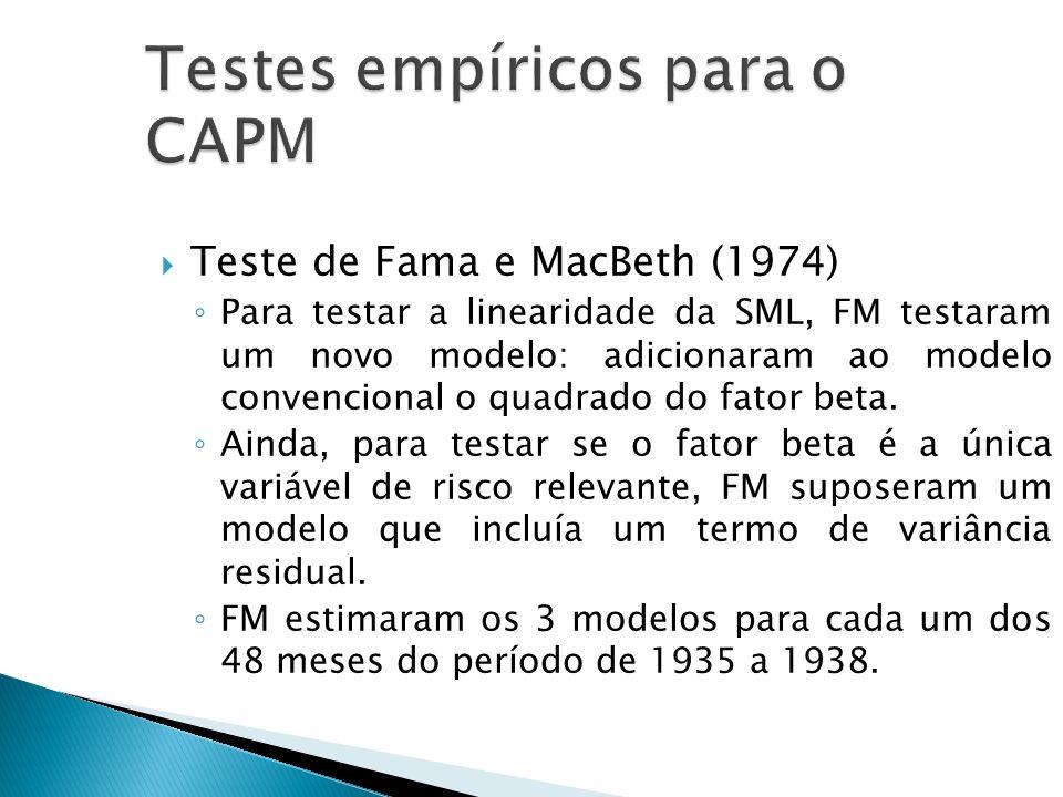 Teste de Fama e MacBeth (1974) Para testar a linearidade da SML, FM testaram um novo modelo: adicionaram ao modelo convencional o quadrado do fator be