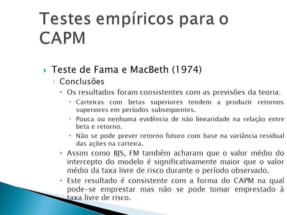 Teste de Fama e MacBeth (1974) Conclusões Os resultados foram consistentes com as previsões da teoria: Carteiras com betas superiores tendem a produzi