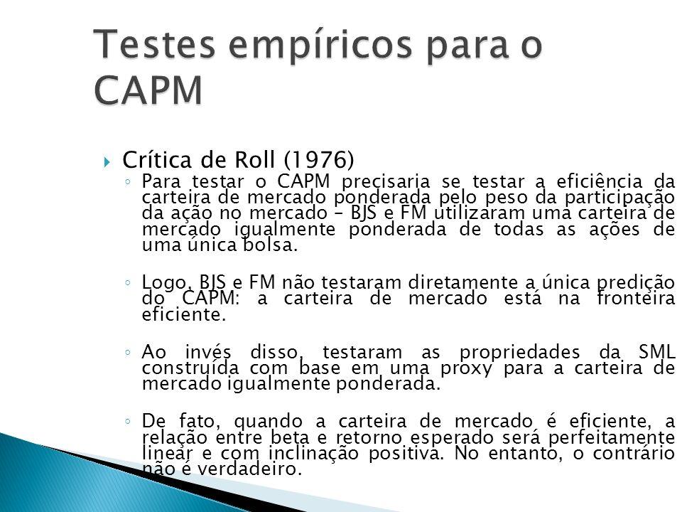 Crítica de Roll (1976) Para testar o CAPM precisaria se testar a eficiência da carteira de mercado ponderada pelo peso da participação da ação no merc