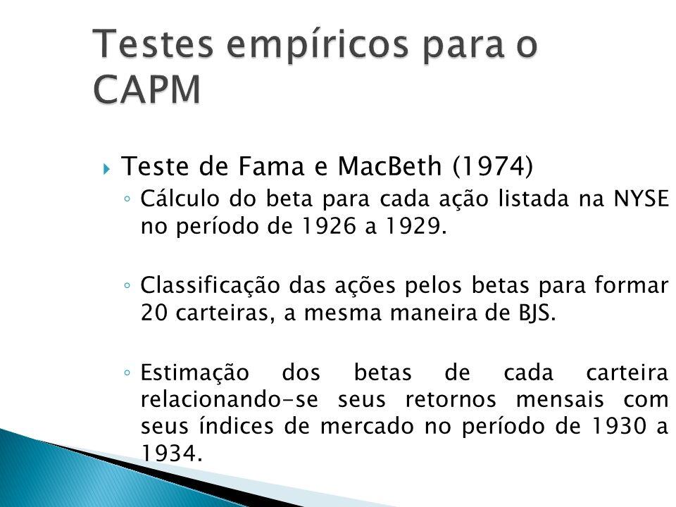 Teste de Fama e MacBeth (1974) Cálculo do beta para cada ação listada na NYSE no período de 1926 a 1929. Classificação das ações pelos betas para form