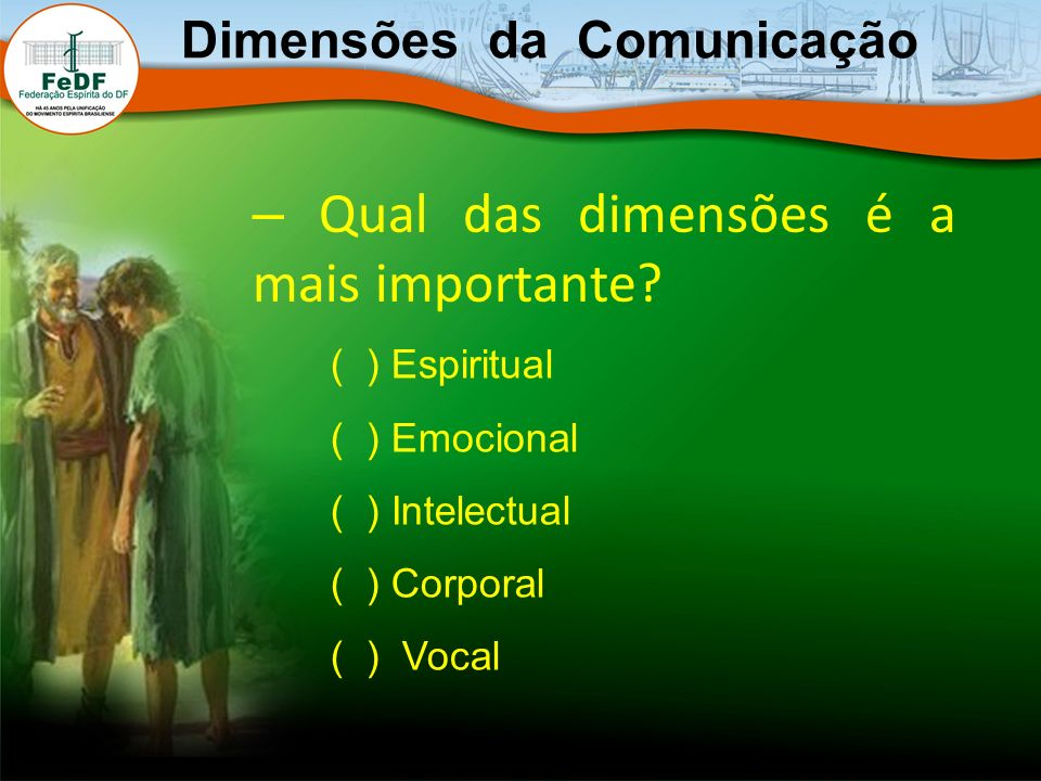Dimensões da Comunicação – Qual das dimensões é a mais importante? ( ) Espiritual ( ) Emocional ( ) Intelectual ( ) Corporal ( ) Vocal