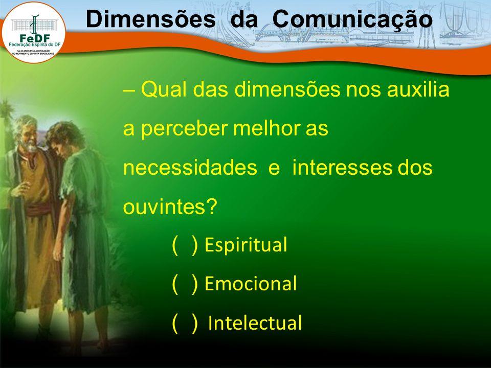 – Qual das dimensões nos auxilia a perceber melhor as necessidades e interesses dos ouvintes? Dimensões da Comunicação ( ) Espiritual ( ) Emocional (