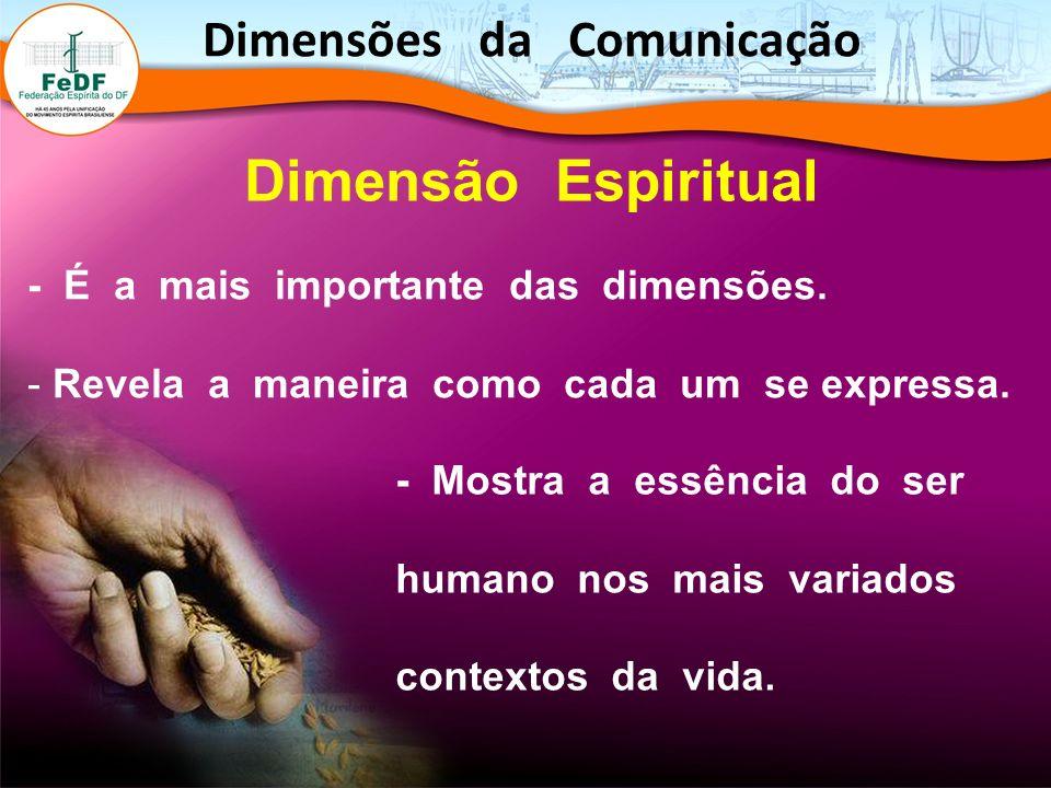Dimensão Espiritual - É a mais importante das dimensões. - Revela a maneira como cada um se expressa. - Mostra a essência do ser humano nos mais varia