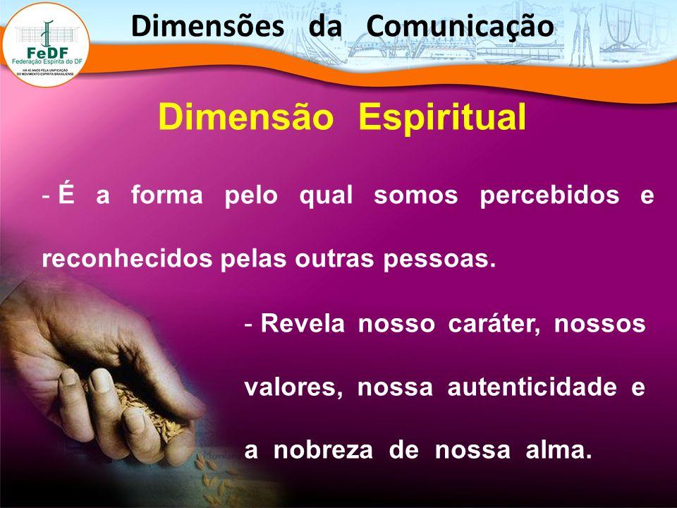 Dimensão Espiritual - É a forma pelo qual somos percebidos e reconhecidos pelas outras pessoas. - Revela nosso caráter, nossos valores, nossa autentic